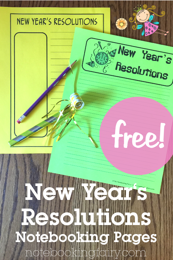 free new year's resolutions notebooking pages