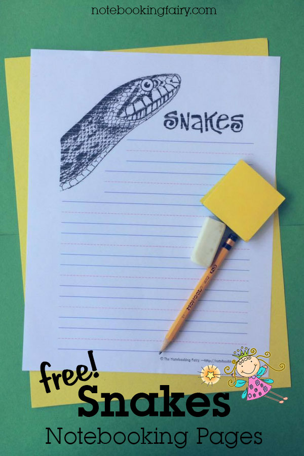Snakes Notebooking Pages FREE from the Notebooking Fairy