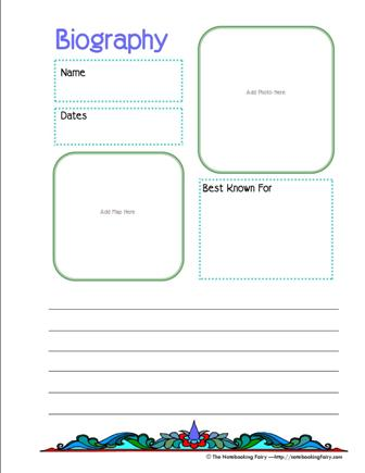 Biography Notebooking Pages