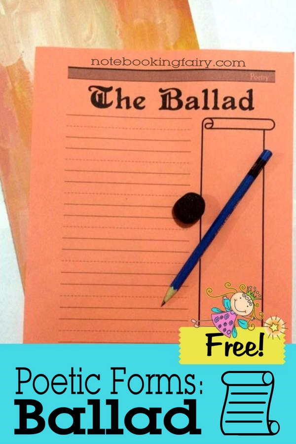FREE Poetic Forms: Ballad from the Notebooking Fairy!