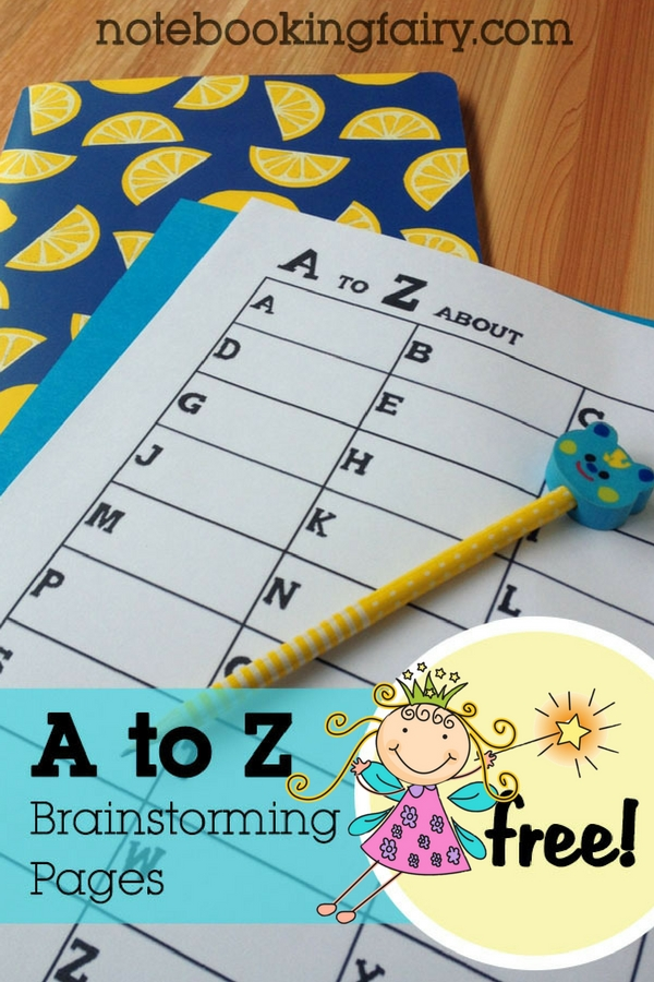 Free A to Z Brainstorming Pages from The Notebooking Fairy