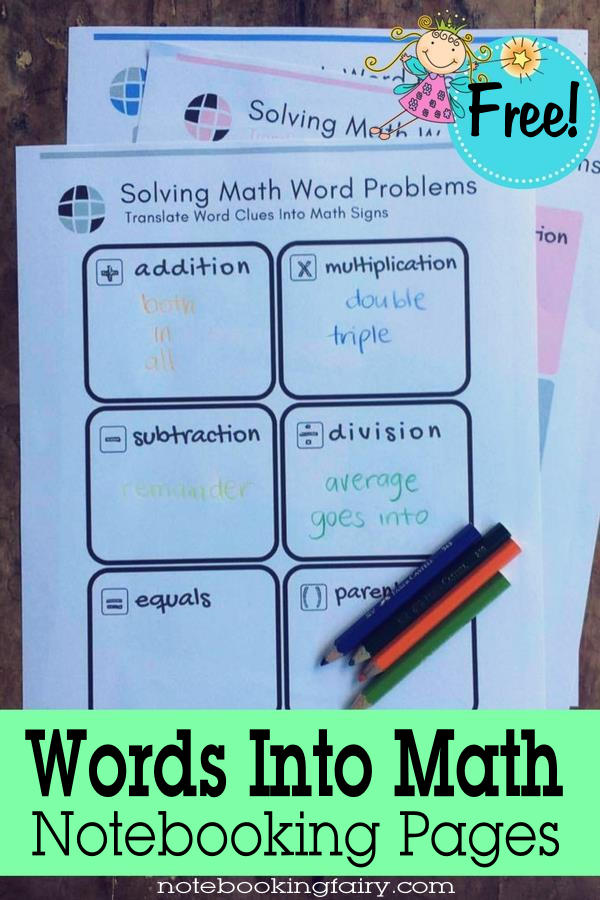 Words Into Math Notebooking Pages • solving math word problems • free notebooking printable