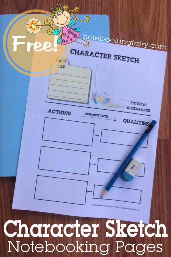 Character Sketch Notebooking Pages FREE from the Notebooking Fairy