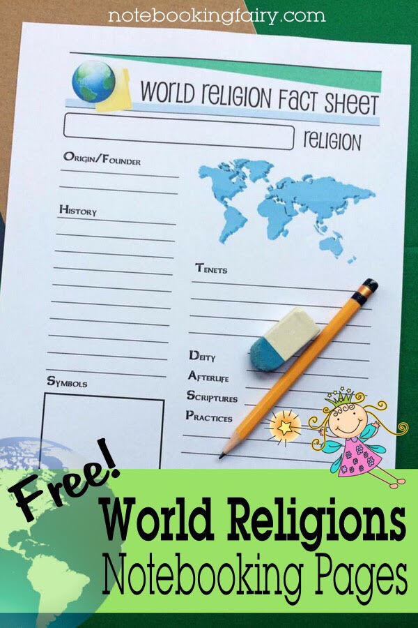 FREE World Religions Notebooking Pages from the Notebooking Fairy