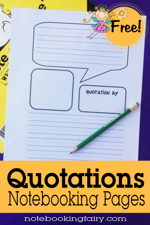 Quotations Notebooking Pages FREE from The Notebooking Fairy