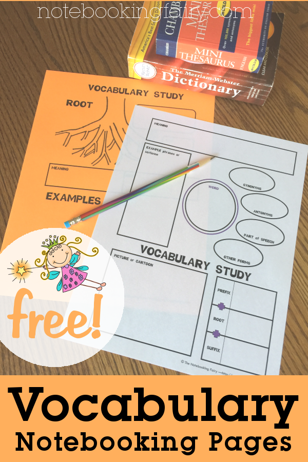 Vocabulary Notebooking Pages