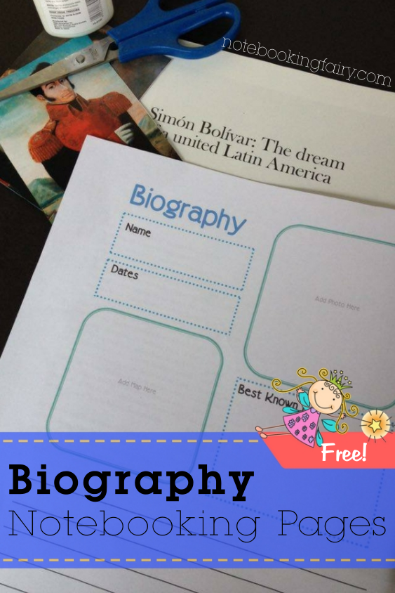 Biography Notebooking Pages Free from the Notebooking Fairy!