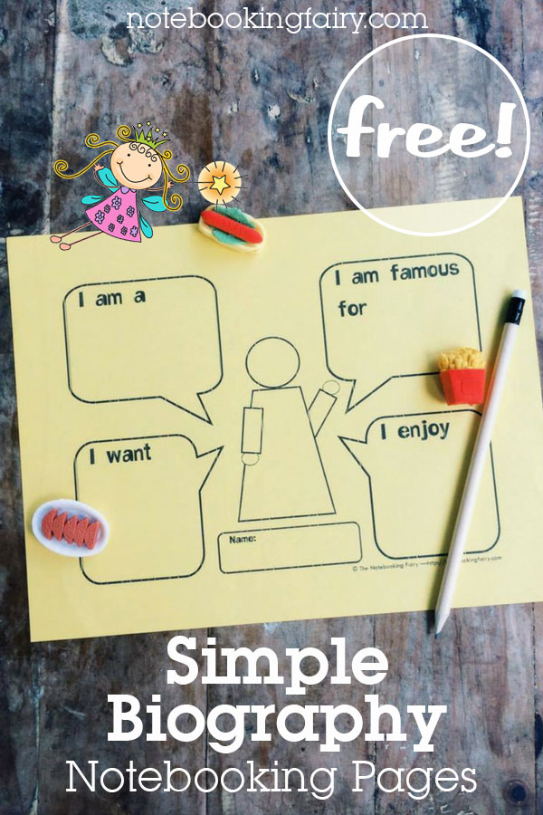 Simple Biography Notebooking Pages FREE from the Notebooking Fairy