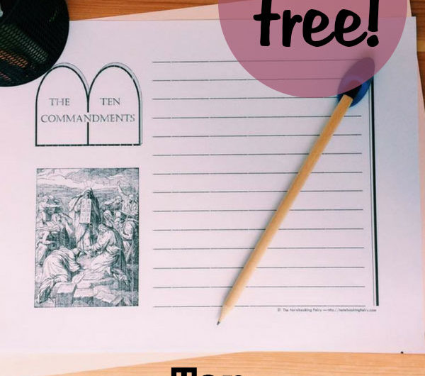 FREE Ten Commandments Notebooking Pages from the Notebooking Fairy