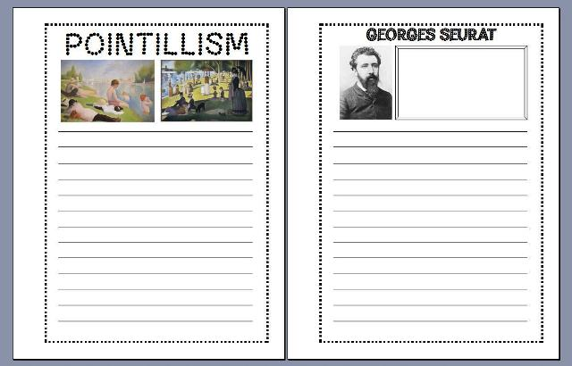 Georges Seurat and Pointillism Notebooking Pages