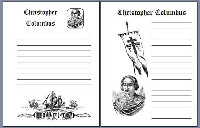 columbus day notebooking pages these