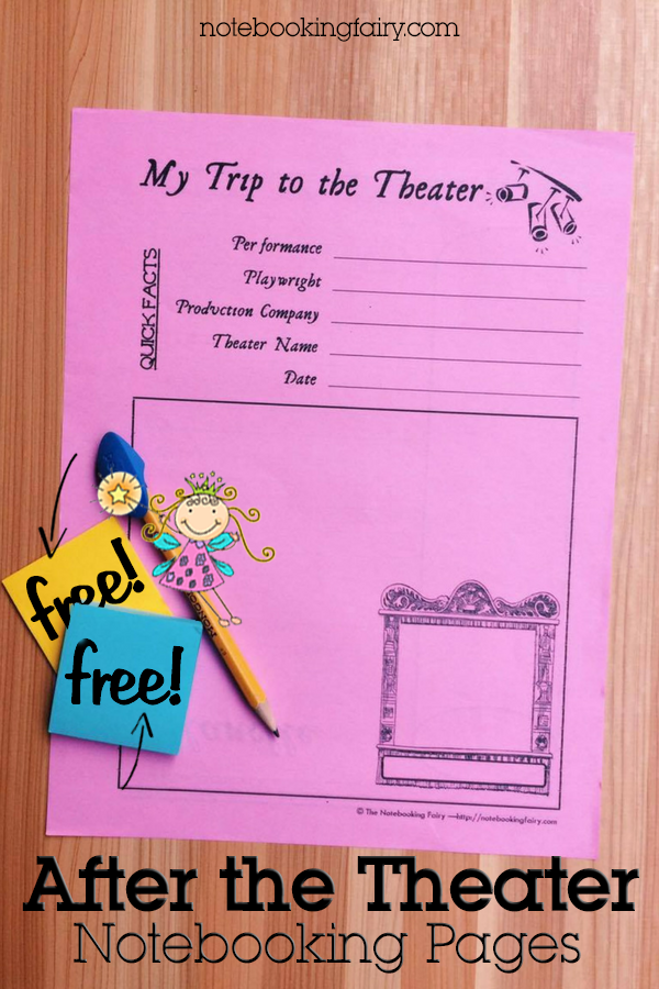 After the Theatre Notebooking Pages FREE from the Notebooking Fairy