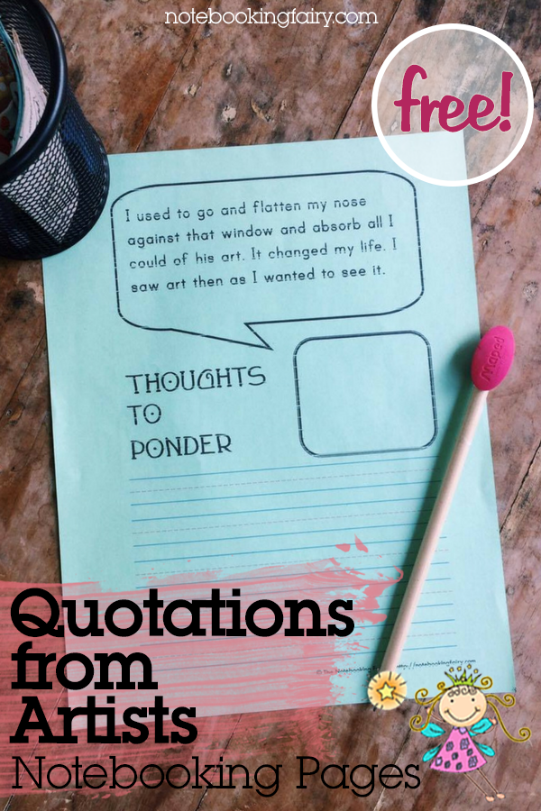 Quotations from Artists Notebooking Pages FREE from the Notebooking Fairy