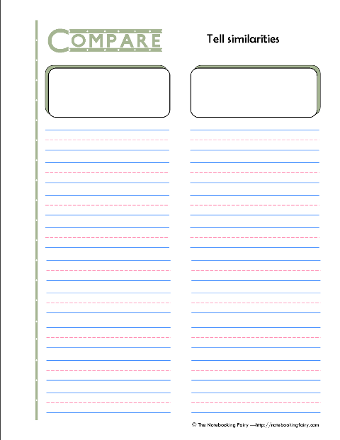 Comparison Notebooking Page Notebooking Fairy