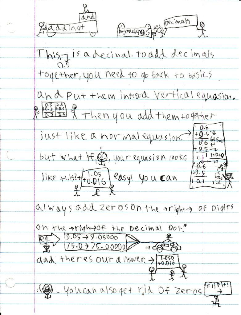 decimals notebooking page