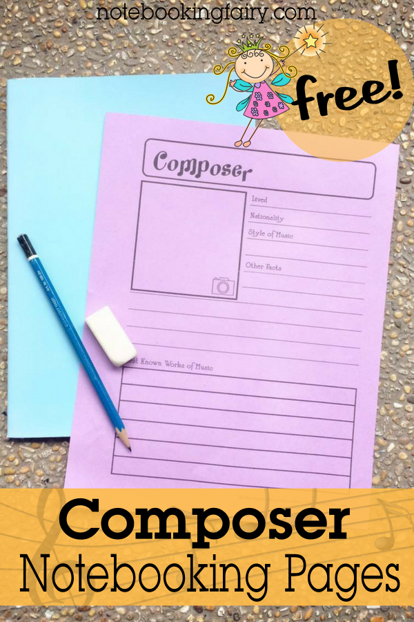 FREE Composer Notebooking Pages from the Notebooking Fairy