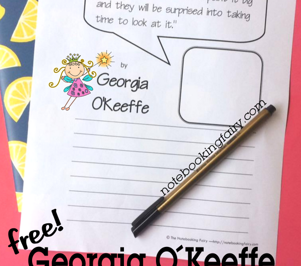 FREE Georgia O'Keeffe Quotation Copywork Pages from the Notebooking Fairy