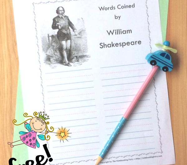 Words Coined by William Shakespeare Notebooking Pages FREE from the Notebooking Fairy